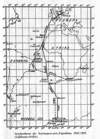 карта следования к берегам Антарктиды